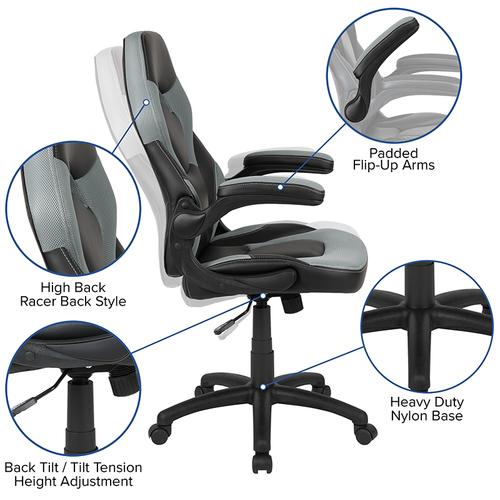 Gallery - X10 Gaming Chair Racing Office Ergonomic Computer PC Adjustable Swivel Chair with Flip-up Arms, Gray\/Black LeatherSoft