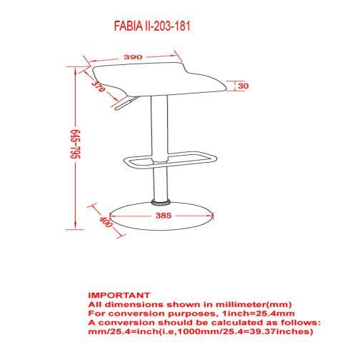 Fabia II Air Lift Stool, set of 2 in Grey