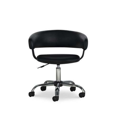 Upholstered Black Faux Leather Gas Lift Desk Chair With Swivel, Black and Chrome