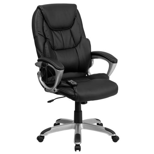 Gallery - High Back Ergonomic Massaging Black LeatherSoft Executive Swivel Office Chair with Silver Base and Arms