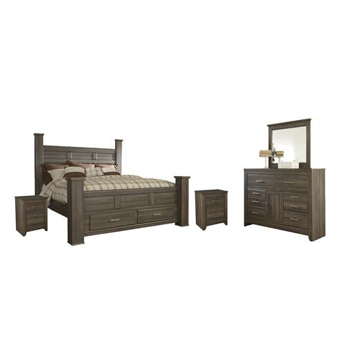 King Poster Bed With 2 Storage Drawers With Mirrored Dresser and 2 Nightstands