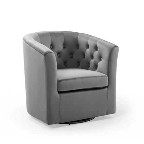 Modway - Prospect Tufted Performance Velvet Swivel Armchair in Light Gray