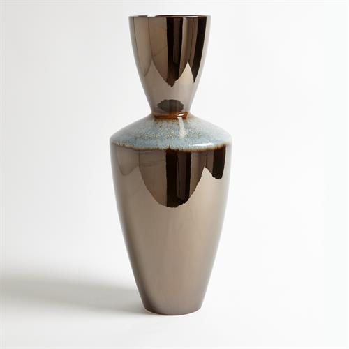 Martas Vase-Bronze Reactive Blue-Tall