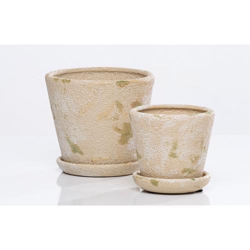 Camo Carved Petit Pots w/ attchd saucer set of 2min 4 sets camo sand