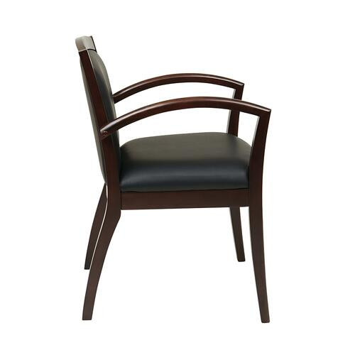 Napa Espresso Guest Chair With Full Cushion Back, Black Bonded Leather