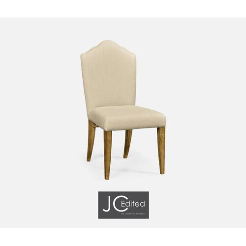 High Back Light Brown Chestnut Side Chair, Upholstered in MAZO