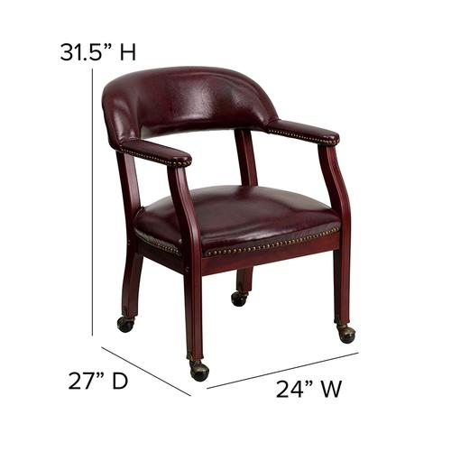 Gallery - Oxblood Vinyl Luxurious Conference Chair with Accent Nail Trim and Casters