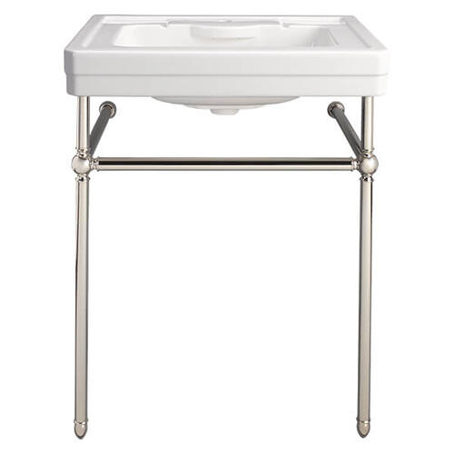 Dxv - Fitzgerald Console Sink- Single Faucet Hole - Canvas White / Polished Nickel