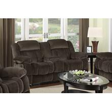 SU-ZY660 Collection  Reclining Loveseat with Console in Chocolate