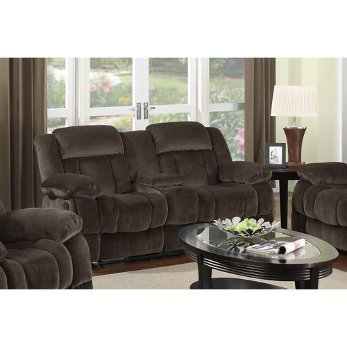 Reclining Loveseat w/Console - Chocolate (Teddy Bear Collection)