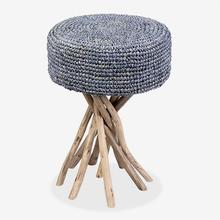 See Details - Surfside Stool With Blue Rafia Cushion