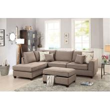 Navin 3pc Sectional Sofa Set, Mocha