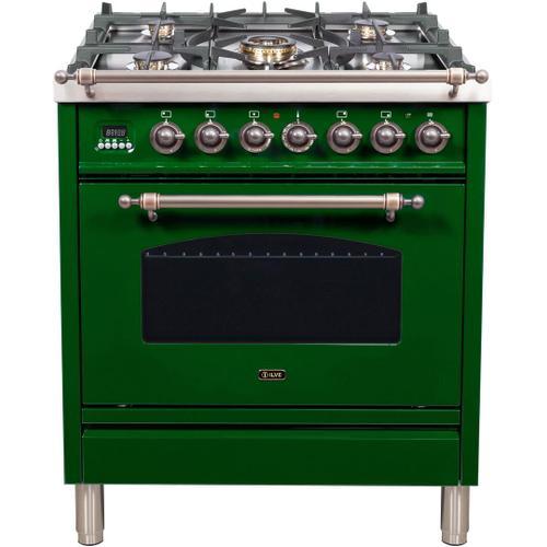 Nostalgie 30 Inch Dual Fuel Natural Gas Freestanding Range in Emerald Green with Bronze Trim