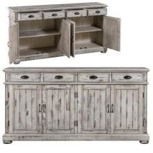 Hawthorne Estate 4 Drawer / 4 Door Wood Sideboard Distressed White Finish