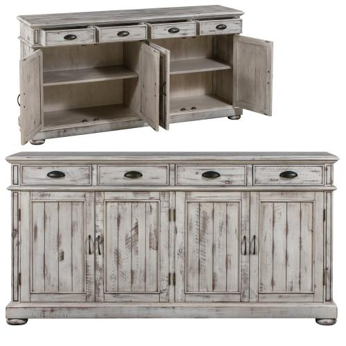 Crestview Collections - Hawthorne Estate 4 Drawer / 4 Door Wood Sideboard Distressed White Finish