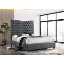 See Details - 7559 DARK GRAY Fabric Tufted Headboard Platform Bed - C. KING