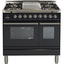 Professional Plus 36 Inch Dual Fuel Liquid Propane Freestanding Range in Matte Graphite with Chrome Trim