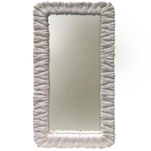 Milk White  Traditional Coastal  Composite Framed Wall or Leaner Mirror  Hangs Vertical or Horizo