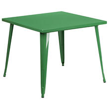 "Commercial Grade 35.5"" Square Green Metal Indoor-Outdoor Table"