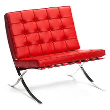 Barcelona Chair - Full Genuine Italian Leather - Reproduction - Red