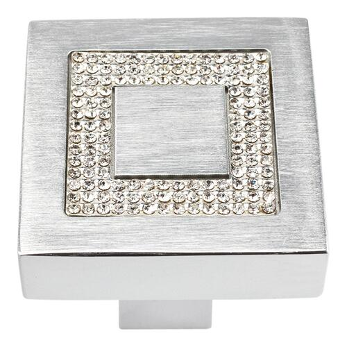Crystal Square Inset Knob 1 3/8 Inch - Matte Chrome