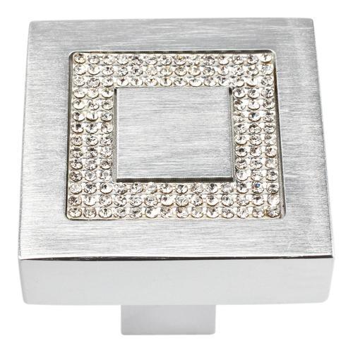 Atlas Homewares - Crystal Square Inset Knob 1 3/8 Inch - Matte Chrome