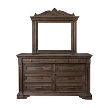 P142100  Bedford Heights 9 Drawer Dresser/Mirror in Estate Brown