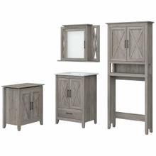 View Product - 24W Bathroom Vanity Sink with Mirror, Over Toilet Storage and Hamper, Driftwood Gray