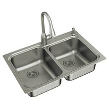 "Kelsa faucet & sink combination - 33""x22"" 18 gauge stainless steel double bowl"