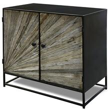 KAYDEN CABINET II  34in w. X 32in ht. X 18in d.  Solid Reclained Wood Cut and Joined to Resemble R