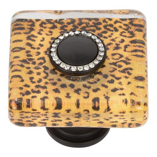 Cheetah Glass Square Knob 1 1/2 Inch - Matte Black