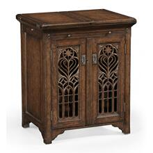 See Details - Dark oak gothic wine cabinet small