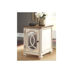 Realyn Chair Side End Table White/Brown