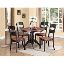 Black & Cherry Round Dining Set