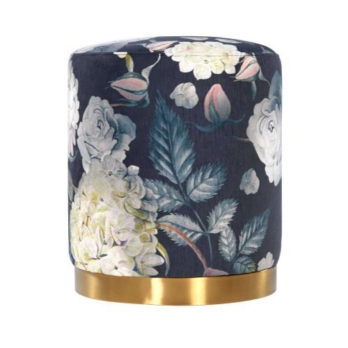 Product Image - Opal Floral Velvet Ottoman - Gold Base