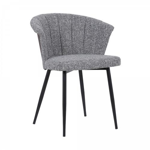 Armen Living - Orchid Mid-Century Dining Chair in Black Powder Coated Finish with Grey Fabric and Walnut Glazed Finish Back
