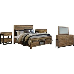 Ashley - Queen Panel Bed With Storage With Mirrored Dresser and 2 Nightstands