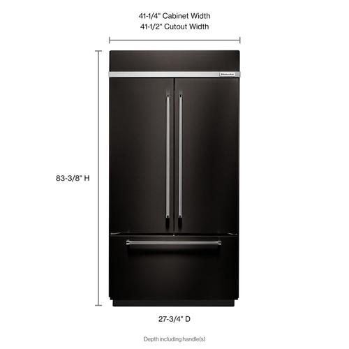 """KitchenAid Black Stainless - 24.2 Cu. Ft. 42"""" Width Built-In Stainless French Door Refrigerator with Platinum Interior Design - Black Stainless Steel with PrintShield™ Finish"""