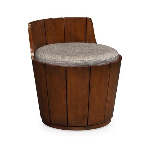 Walnut Outdoor Bucket Stool, Upholstered in COM