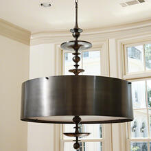 Turned Pendant Chandelier-Antique Bronze-Sm