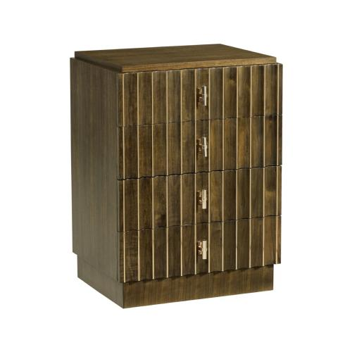 Small Autumn Walnut Reeded Chest of Drawers
