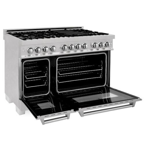 "Zline Kitchen and Bath - ZLINE 48"" DuraSnow® Stainless Steel 6.0 cu.ft. 7 Gas Burner/Electric Oven Range with Color Door Options (RAS-SN-48) [Color: White Matte]"