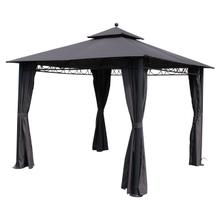 St. Kitts 10-foot Aluminum/ Polyester Double-vented and Drapes Square Gazebo - Dark Grey/Steel Grey