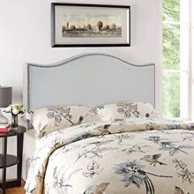 View Product - Curl Queen Nailhead Upholstered Headboard in Sky Gray