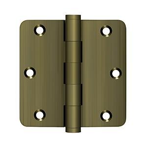 """Deltana - 3-1/2"""" x 3-1/2"""" x 1/4"""" Radius Hinges - Antique Brass"""