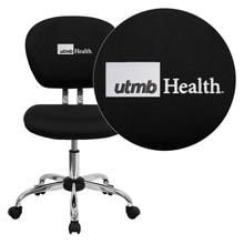 Texas Medical Branch Galveston Embroidered Black Mesh Task Chair with Chrome Base