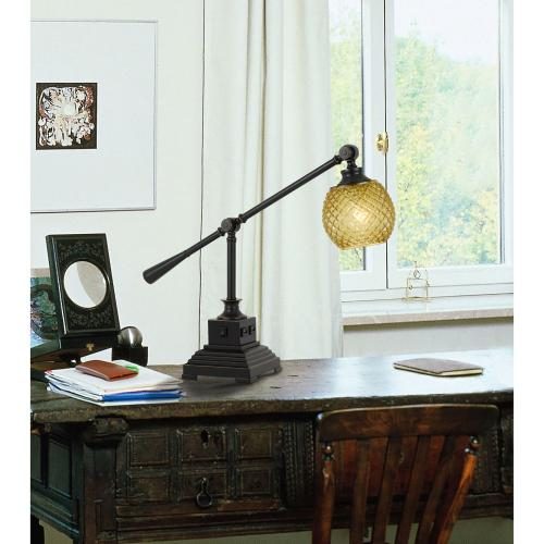 Cal Lighting & Accessories - 60W Brandon Metal Desk Lamp With Glass Shade And 2 USB Outlets