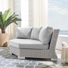 Conway Sunbrella® Outdoor Patio Wicker Rattan Round Corner Chair in Light Gray Gray