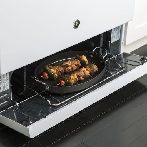 """GE 30"""" Gas Freestanding Range with Broil Drawer White - JCGBS10DEMWW"""