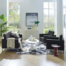 Loft 3 Piece Tufted Upholstered Faux Leather Set in Silver Black